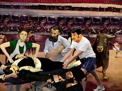 """Dead Toreador, Trauma Massage"" (barry.kite@att.net) Tags: manet impressionism bullfight death deadtoreador olympia dejeuner bull emergency trauma massage therapy sport collage parody satire humor funny"