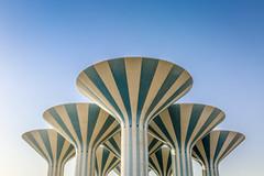 Kuwait City, Kuwait (gstads) Tags: kuwait kuwaitcity watertower watertowers tower towers water architecture line lines blue geometric symmetry