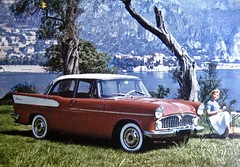1957-1961 SIMCA Vedette Phase II Beaulieu Limousine (ClassicsOnTheStreet) Tags: simca vedette beaulieu berline voiture pkw saloon sedan 19571961 simcavedettebeaulieu simcavedette v8 fordfrance fordsaf 8cylinder 8cilinder 50s 1950s 60s 1960s classiccar classic oldtimer klassieker gespot spotted carspot amsterdam 2017 classiconthestreet ansichtkaart postcard reproduction reproductie repro kopie copy fotovanfoto kleurenfoto twotone bicolore publicity reclamekaart werbung 1959 mk2 vedettephaseii
