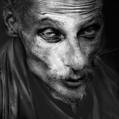 Eye to eye #4 (Ales Dusa) Tags: man homeless portrait streetportrait face outdoor hunger people strongcontrast alesdusa closeup monochrome blackandwhite bw beard candid eyetoeye skinnyman candidportrait dramaticportrait ef50mmf18stm canon5d jacket moustache fullframe