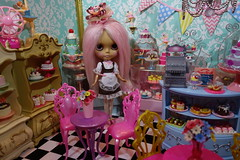 Grand Opening just in time for Christmas! (Primrose Princess) Tags: lapetitepatisserie pastry shop takara blythe doll customblythe alpacareroot pink christmas diorama blythedoll ooakblythe laduree ninas paris france frenchpastry macaron tea teaparty holiday celebration