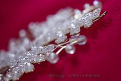 Snowflake of White Christmas (mariola aga) Tags: holiday christmas xmas ornament snowflake macro closeup bokeh red green white greetingcard art