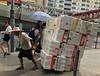 Hauling Styrofoam (cowyeow) Tags: man worker working oldman labor box boxes hauling market street urban city road ngauchiwan choihung funny china chinese funnychina hongkong asia asian 香港 candid people scene