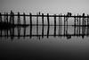 U bein bridge (maekke) Tags: myanmar mandalay burma ubeinbridge ubein bridge reflection bw noiretblanc silhouette 35mm fujifilm x100t streetphotography 2017 travelling tourist lake