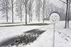 Smiling road sign (Jan Slob) Tags: roadsign nieuwerkerkadijssel hitland zuidholland netherlands holland bos forest sneeuw snow trees winter ©allrightsreserved geotagged lol fun
