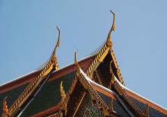 Horn Gaggle (Dylan H, from the road) Tags: asia thailand bangkok grandpalace roof statue color tile gold angle stripe temple