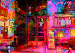 Open (brillianthues) Tags: collingswood shop street abstract colorful collage photography photmanuplation photoshop