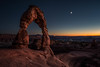 Delicate Evening in Arches National Park (Bernd Thaller) Tags: moab utah usa us arches archesnationalpark nationalpark dusk bluehour landscape evening moon stars redrock rocks