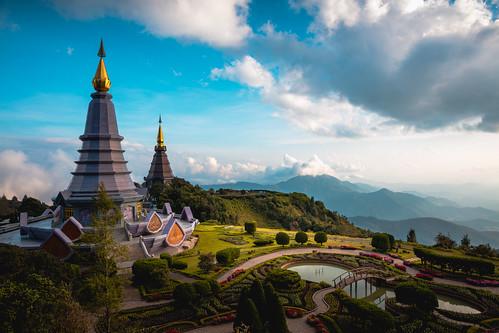 Duo pagoda (Noppha methanidon-noppha phon phum siri stupa) in an Inthanon mountain, Chiang Mai, Thailand