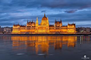 Blue hour at Hungarian Parliament Building - (Hungarian: Országház). (Budapest, Hungary)