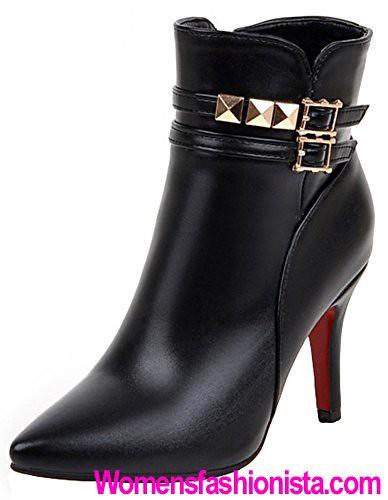 596b53fe51e Summerwhisper Women s Sexy Studded Rivets Buckle Straps Pointed Toe Side  Zipper Stiletto High Heel Ankle Boots