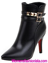 Summerwhisper Women's Sexy Studded Rivets Buckle Straps Pointed Toe Side Zipper Stiletto High Heel Ankle Boots Black 7.5 B(M) US (womensfashionista) Tags: 75 ankle black bm boots buckle heel high pointed rivets sexy side stiletto straps studded summerwhisper toe womens zipper