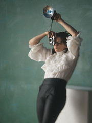 Pretty flash (Bruce M Walker) Tags: impressionism pictorialist pictorialism woman chalkboard windowlight mediumformat squeezerlens