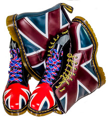 Union Jack. . . Dr Martens. . . (CWhatPhotos) Tags: mk ii art artistic cwhatphotos photographs photograph pics pictures pic picture image images foto fotos photography that have which contain view olympus omd em5 visual dm dms docs dr marten martens boot boots cool doc airwair yellow stitching color colour colours colors 1460 8 hole iconic union jack flag great briton laces laced lace red blue white redblueandwhite foot wear pascal compare comparison old new styles style