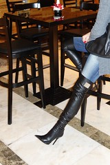 New Year City Trip - Rosina in the sport bar watching Premier League on New Year's Day (Rosina's Heels) Tags: high heel stiletto overknee boots leather