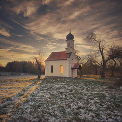 The Little Chapel (2) (M a r i k o) Tags: iphone iphonex iphoneography iphonephotography mobile mobilephotography mariko square chapel kapelle church sunrise light sun winter cold snow rottmann hörlkofen wörth erding bavaria bayern germany procamera hdr snapseed