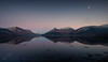 Moon over Glencoe (GenerationX) Tags: a82 barr canon6d glencoe lochleven mamnagualainn neil papofglencoe scotland scottish westhighlandway calm clouds dusk evening landscape mirror moon moonlight mountains reflections sea seaweed sky snow sunset water unitedkingdom gb