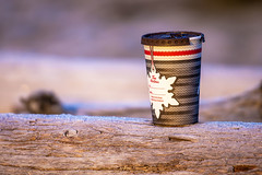 Canadiana (Paul Rioux) Tags: discarded abandoned garbage refuse trash timhortons coffee cup frost frosty log cold ice canada canadian canadiana christmas prioux random miscellaneous odd bokeh dof depthoffield beach junk