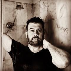 Matt (Day 1, 2018) (Cade Buchanan) Tags: 2018 wet shower man bw blackandwhite tshirt wettshirt beard male blacktshirt