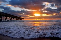 Sunrise (BMADHudson) Tags: sunrise sunset florida southflorida deerfield beach light clouds sun pier water sand