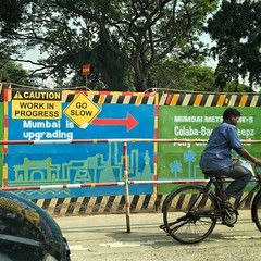 Caution work in progress Mumbai is upgrading go slow (Roy Cheung Photography) Tags: square iphone india sign warning goslow metro road bicycle street construction work upgrade upgrading mumbai workinprogress caution