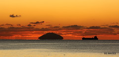 A stunning sunset to end a stunning day, from the beach at Maryborough Road,Prestwick looking towards the Ailsa Craig as a ship sails towards Ayr Harbour.Enjoy our beautiful Ayrshire coastline. (BS Images.) Tags: prestwick southayrshire scotland sunset ailsacraig sea