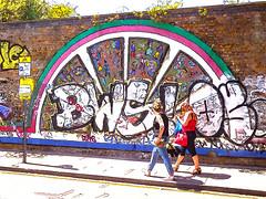 BWS! (Steve Taylor (Photography)) Tags: bws parkingsuspended mosaic art digital graffiti mural streetart tag sign brick ladies women uk gb england greatbritain unitedkingdom london outline arch