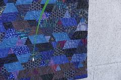 "Detail of ""firefly"" (Slaney HandCraft) Tags: artquilt forsale wallhanging textileart firefly summernight blue light firebug nightcolor"