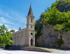 """Savoir être petite et bien marquer sa présence !  """" Drôme - France""""   -   To be able to be small and to mark one's presence! (josianelavielle) Tags: église roche route arbres plantes nature ciel paysage"""