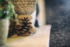 the hour of silence (*silviaON) Tags: mantelpiece pinecone stilllife textured crisbuscaglialenz