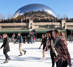 SKATING BENEATH THE BEAN (Rob Patzke) Tags: bean skate ice park panasonic lx100 chicago cloudgate girls