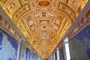 Maps on the walls, long ornate ceiling - Galleria delle Carte Geographique, Vatican Museum (Monceau) Tags: ceiling ornate painting sculpture maps frescos galleriadellecartegeographique vaticanmuseum vanishingpoint barrelceiling gold blue