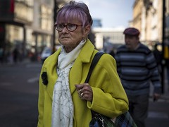 Challenge Everything (Leanne Boulton) Tags: portrait people urban street candid portraiture streetphotography candidstreetphotography candidportrait streetportrait streetlife woman female old aged elderly face expression look emotion mood bright yellow coat purple hair colourful tone texture detail depthoffield bokeh naturallight outdoor light shade shadow city scene human life living humanity society culture lifestyle style fashion canon canon5d 5dmkiii 70mm ef2470mmf28liiusm color colour glasgow scotland uk