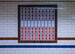 Elementary (Steve Taylor (Photography)) Tags: bakerstreet underground station art design logo portrait brown blue red white tile man uk gb england greatbritain unitedkingdom london pattern silhouette deerstalker hat sherlockholmes tube mosaic pipe