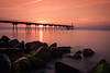 Dawn in petrol bridge 2.0 (Lluvia Fotografia) Tags: reflection rocks water bridge sky orange longexposure haida nd sunset dawn sunshine beach
