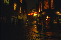 Boston, Massachusetts: Union Oyster House (rocinante11) Tags: boston massachusetts night ambient longexposure timedexposure ambientlight film slidefilm cobblestone