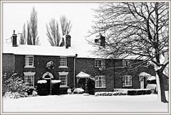 Snow scene, Braunston (Jason 87030) Tags: houses scene snow weather cottages dwellings brick cold village northants northamptonshire local framed border tree branch naked nude trunk bark flurry shot lumis panasonic leica lens compact walk shops clayton photo brauinston road 2017 december