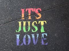 It's Just Love (TheMachineStops) Tags: 2017 outdoor nyc manhattan newyorkcity text sidewalk pavement graffart stencil rainbow concrete writing urbanart lgbt gay pride