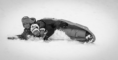Winter fun.... (Kevin Povenz Thanks for all the views and comments) Tags: 2017 december kevinpovenz westmichigan michigan ottawa ottawacounty jenison canon7dmarkii sigma blackandwhite bw cold snow sledding hill sled laughter smiles