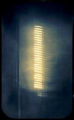 28 Suns and 2 reflections on river (batuda) Tags: pinhole solargraphy solargraph sun solar solarigraphy solarigrafia obscura stenope lochkamera tin altoids mediumformat 6x9 paper kodak polymax developed d76 11 fixed color colour solarpath track trail arch multi multiplication multiplepinholes winter december landscape sky water river nemunas šančiai kaunas lithuania lietuva
