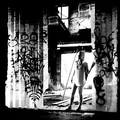 ( She loved to discover new places to explore ) (Wandering Dom) Tags: people woman human decaying building graffiti ephemeral art city architecture expression impression being nothingness time life reality dreams discover explore earth multiverse roam wandering
