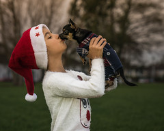 """Happiness is a warm puppy.""—Charles M. Schulz (Lorrainemorris) Tags: friendship christmas girlanddog joy peace love child girl chihuahua puppy happiness"
