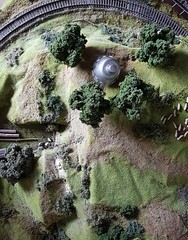 Hiding In English The Countryside. (ManOfYorkshire) Tags: gerryanderson ufo aerial shot photograph hiding english countryside landed diorama scratchbuilt 176 oogauge tv series reconnaissance shadair shado spy aliens