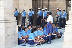 "India Travel Photography ""Sea Cadet Corps Rehearsal at Gateway of India, Bombay"" Mumbai.085 by Hans Hendriksen (Travel Photography - Reisfotografie) Tags: south india bombay mumbai maharashtra индии мумбаи travel reisfotografie reis reisfoto religion religie temple tempel hindoe hindu jain culture civilisation chhatrapati shivaji terminus victoria train station victorian building colonial british empire architecture dabbawalas dhobi ghat shanti nagar lower parel shantinath ghar derasar central sea cadet corps gateway international airport crawford market gujarat express netaji subhash chandra bose road churchgate boy petrol"