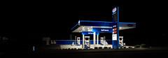 blue encounter (ChrisRSouthland) Tags: blue colour color night nightphotography nightlights nikond800 zeissdistagon21mmf28 petrolstation longexposure tripod
