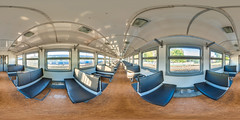 3D spherical panorama with 360 viewing angle. Ready for virtual reality or VR. Full equirectangular projection. Interior of train with seating econom class. (jokki888) Tags: 360 360degree 360view 360panorama vr forvr vitualtours pano panorama panoramic equi equirectangular full spherical hugeresolution large image background seat interior train rail travel inside public transport empty passenger carriage chair transportation nobody window trip compartment railway railroad express speed class corridor coach tourism business journey transit wagon moving economy indoor