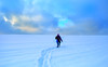 Towards the Light (rgbshot72) Tags: horizon winter snow frost sun man clouds light field traces landscape