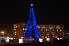 Republic Square by night (Alexanyan) Tags: yerevan 2018 night armenia christmas new year armenian capital city republic square tree reflection light