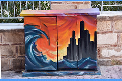 The tidal wave's dramatic effect (Pensive glance) Tags: graffiti image painting mural streetart artderue