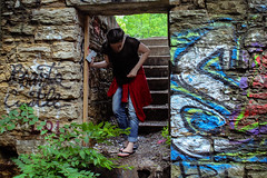 24 May 2016 (blissfullymic) Tags: selfportrait portrait photography portraitphotography kcmo kansascity blue theworkhouse nature urban urbanexploration urbex abandoned